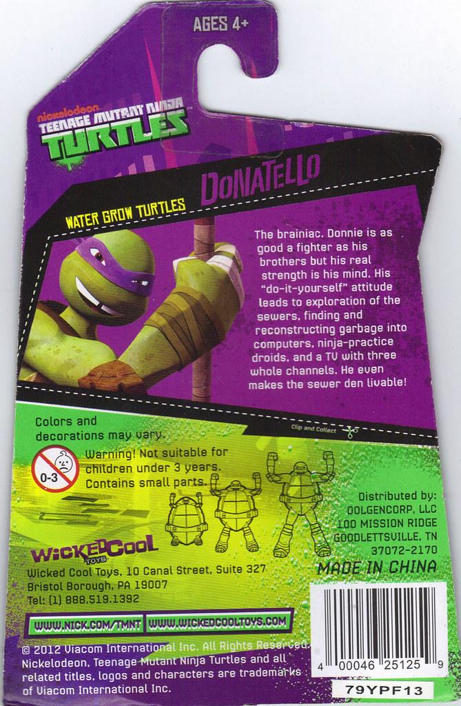 WICKED COOL TOYS :: Nickelodeon TEENAGE MUTANT NINJA TURTLES; 'WATER GROW TURTLES' - DONATELLO iv // ..card backer  (( 2013 )) by tOkKa
