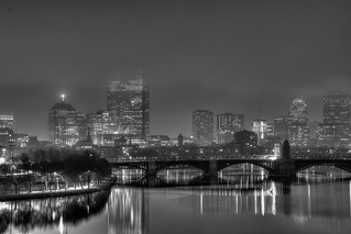POTD 2014-01-17 - A foggy Boston Skyline from the Museum of Science roof - HDR   by BillDamon