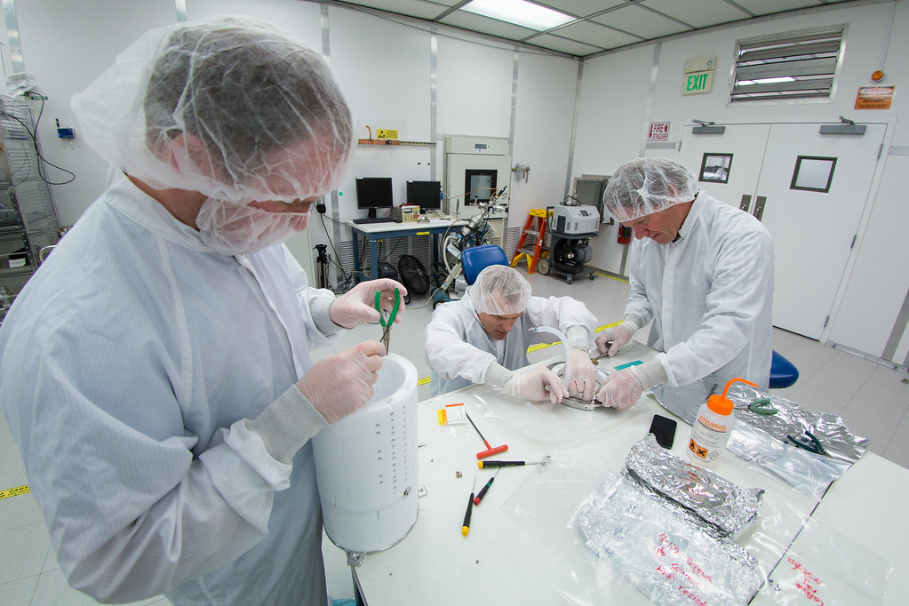 Assembly of the prototype for the LZ detector's core, known as a time projection chamber (TPC)