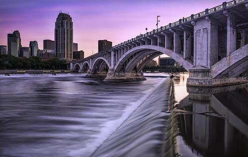 minneapolis minnesota downtown river waterfalls saintanthonyfalls bridge mn pink water rushing long exposure sunset mississippi wow brilliant