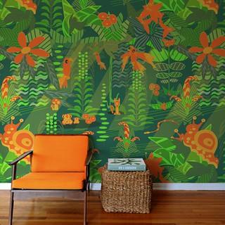 Cartoon Modern Mid-Century Jungle Wallpaper