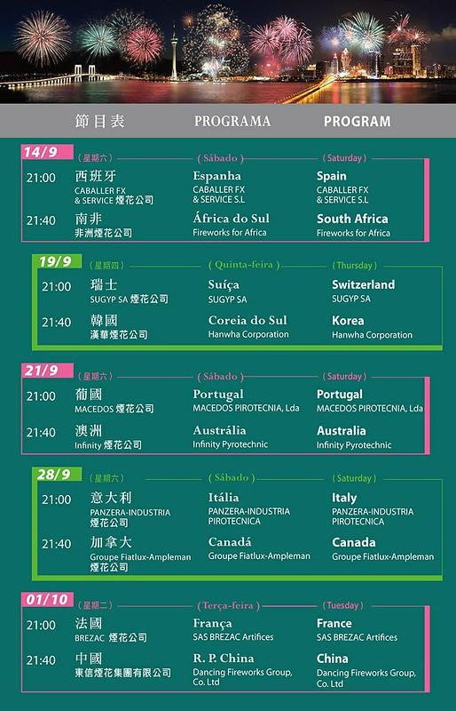 Macau International Fireworks Display 2013 Schedule