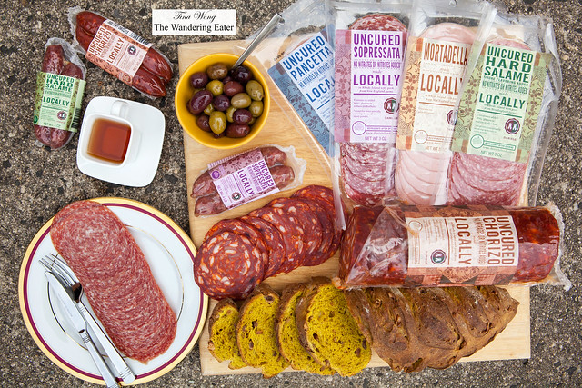 Spread of salami and sausages