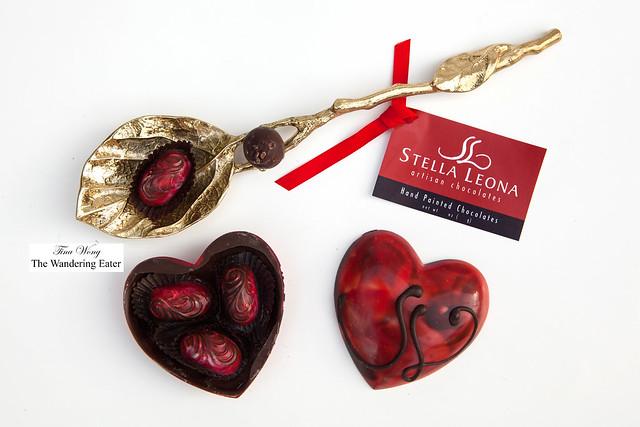 Handpainted edible chocolate heart box and bonbons by Stella Leona Artisan Chocolates