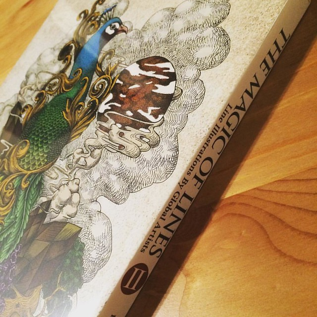 Surprisingly, my artwork is on the spine of this book!!! Wow!!!  そしてまさかの背表紙が自分の絵という驚き。。  #細密画 #線画 #出版 #まさか背表紙に自分の絵 #artbook