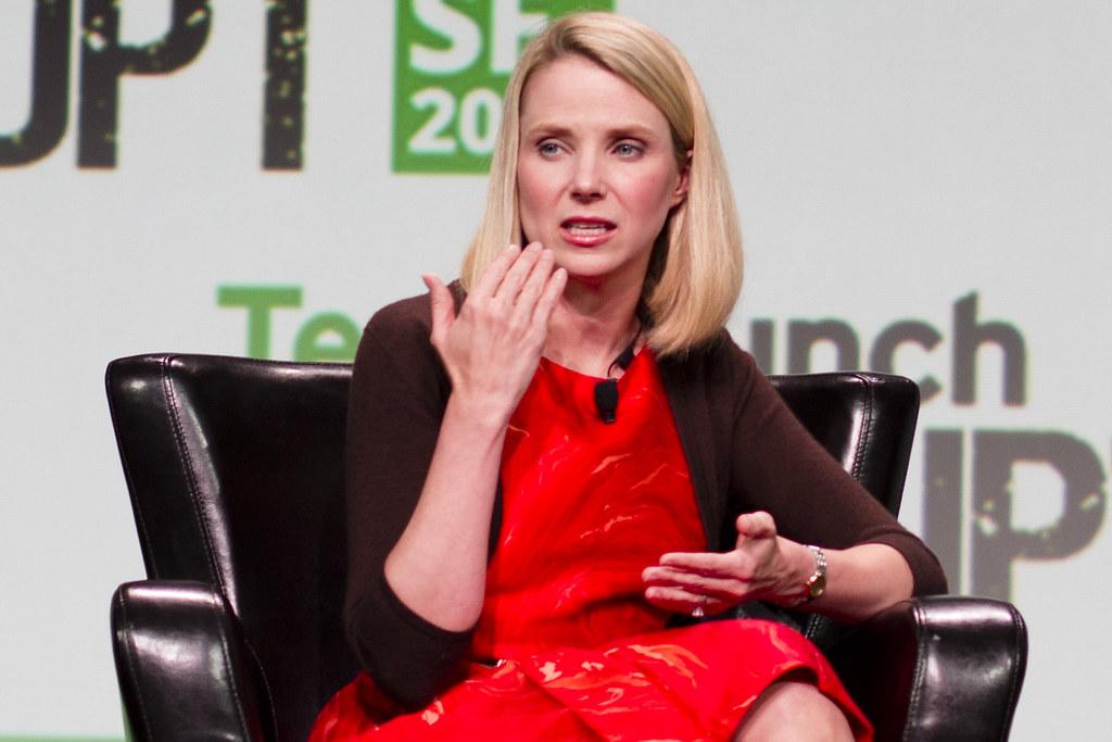 Yahoo! CEO Marissa Mayer on stage at Disrupt SF 2013. PHOTO: Jason Duaine Hahn