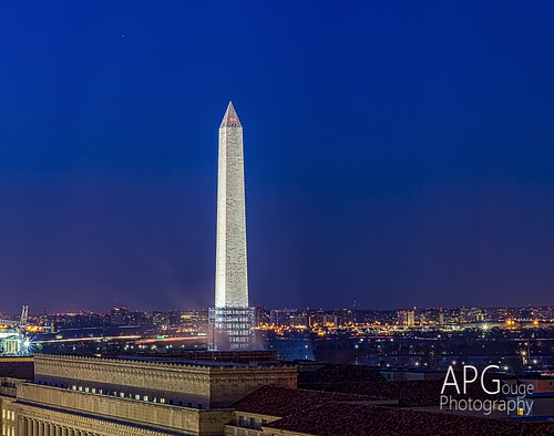 Washington Monument in Blue