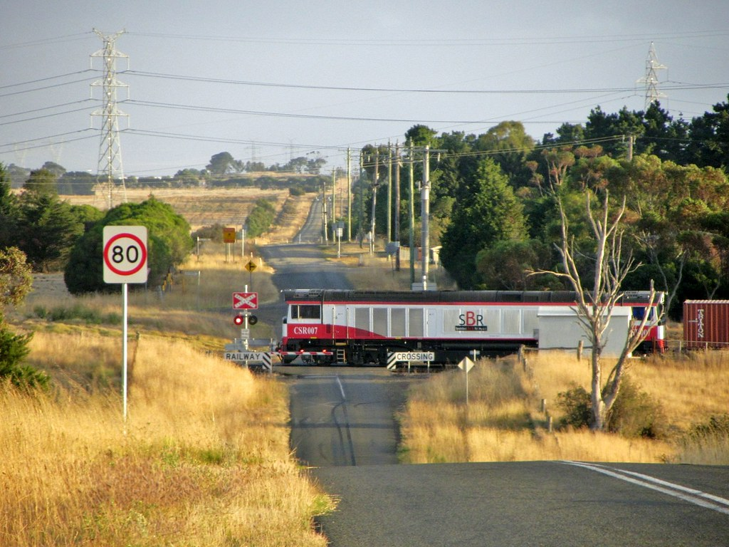 CSR007 leads the SBR/SCT operated, westbound container train to Dooen, Vic by Adam Serena