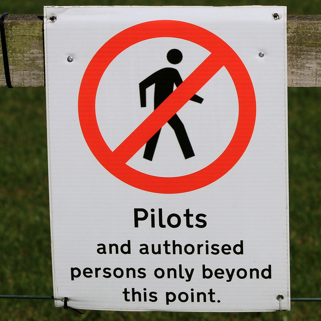Pilots and authorised persons only beyond this point