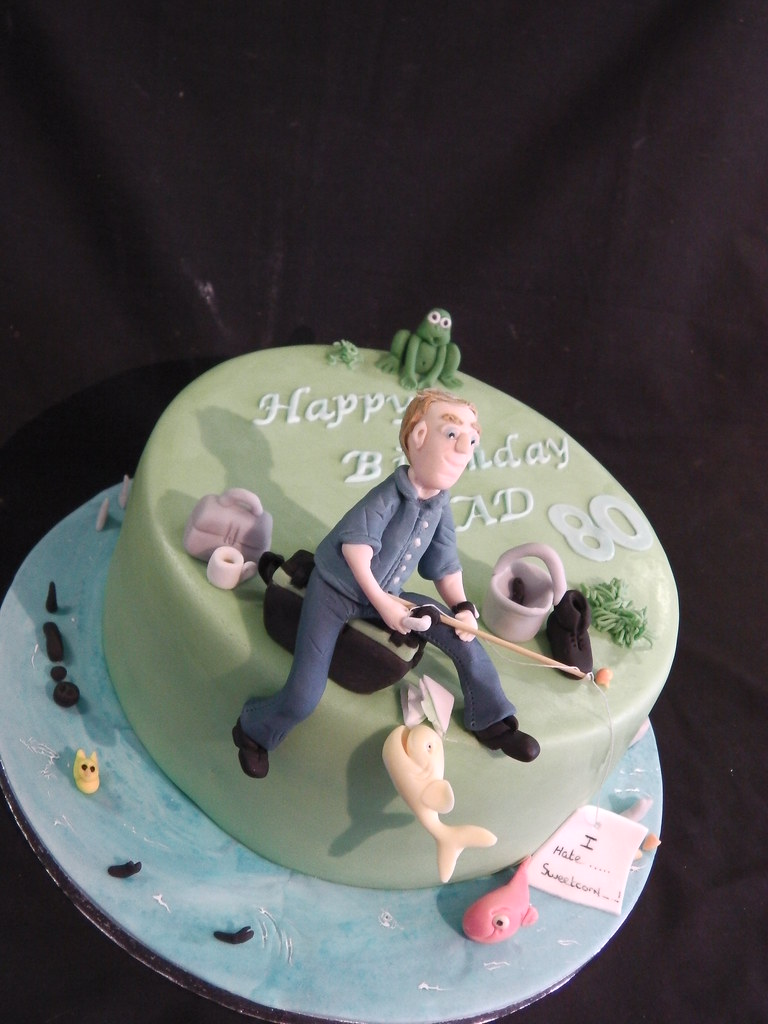 Incredible 80Th Fishing Themed Birthday Celebration Cake Mandys Homemade Funny Birthday Cards Online Eattedamsfinfo