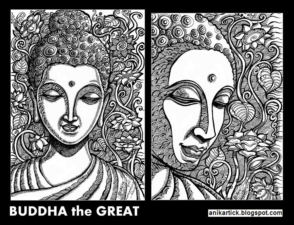 Buddha gautama buddha painting drawing art illustration concept art