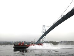 Hovercraft under the Lion's Gate Bridge