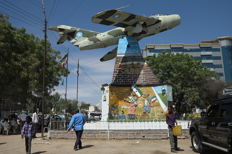 54 Civil war memorial (real fighter jet) in central Hargeisa