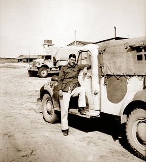 December 1942 - George Dobner of the Australian Army 2/4 Anti Malaria Control Unit with mate Tom Beazley's CHEVROLET 30 cwt GS (General Service) truck at KILO 89 camp, Palestine (now Gaza, Palestine)