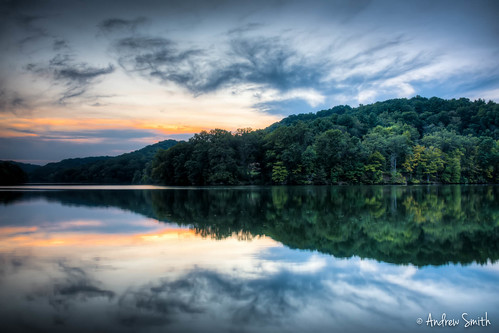 sunset lake reflection clouds landscape pennsylvania raccooncreekstatepark