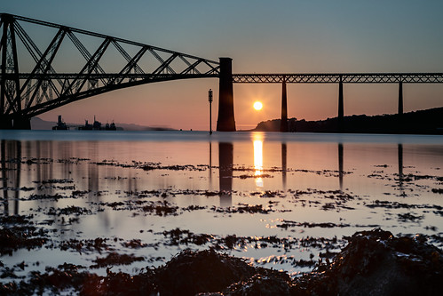 bridge water sunshine sunrise canon river scotland waterfront forthbridge riverforth waterscape eastlothian 24105 sunriseoverwater grantmorris 5d3 grantmorrisphotography