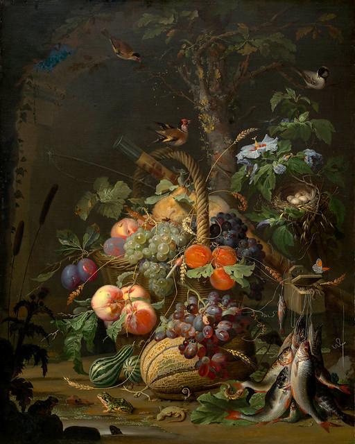 Abraham Mignon, Stillleben mit Früchten, Fischen und einem Nest (Still life with fruit, fish and a nest)