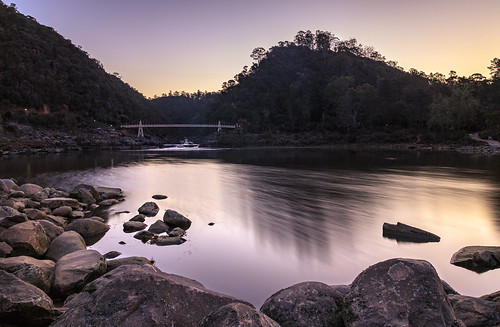 cataract rock spring landscape sunset sigma dslr australia rocks bridge outdoor canon canon6d 24105 dusk cataractgorgereserve 6d trees lake reflection tree travel smooth sigma24105 longexposure cataractgorge launceston tasmania firstbasin gorge water westlaunceston au