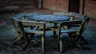Picnic tables at Stourhead   by VijayForVictory