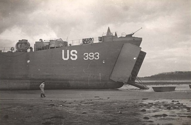 LST-393 at Ballyholme, Northern Ireland, April 1944