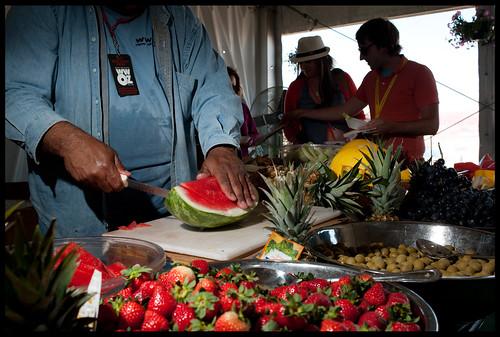 Fruit in the WWOZ tent Jazz Fest 2013. by Ryan Hodgson-Rigsbee (www.rhrphoto.com)