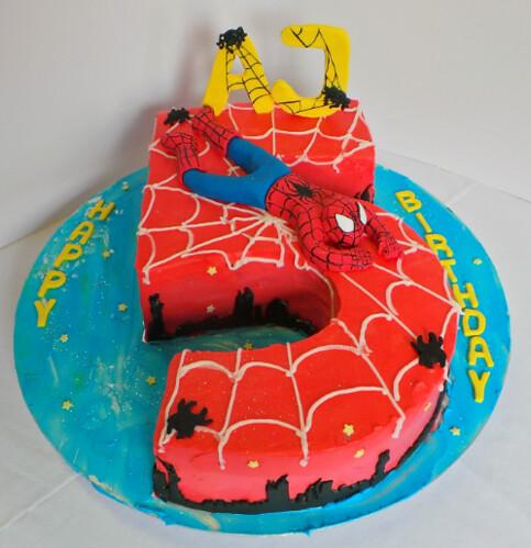 Stupendous Number 5 Spiderman Birthday Cake Willi Probst Bakery Flickr Personalised Birthday Cards Akebfashionlily Jamesorg