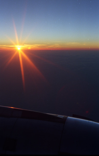 Sunset between HNL and SFO