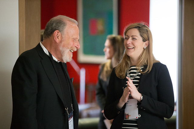 Dr Jeffrey Solomon and Kate Ahern at Giving Pledge registration, Skoll World Forum, Saïd Business School, Oxford - skollwf 2014