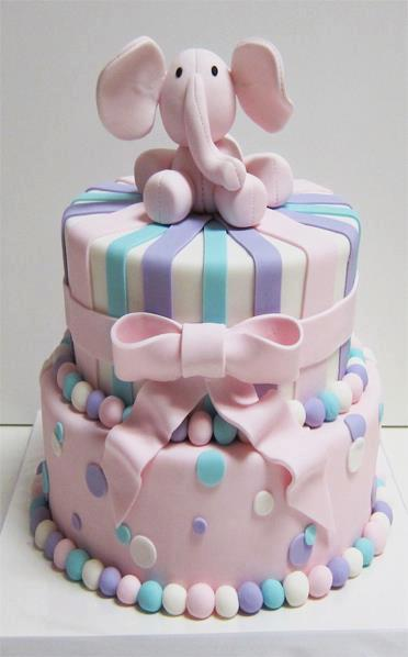 Astonishing Birthday Cake With A Pink Elephant Up A Photo On Flickriver Birthday Cards Printable Trancafe Filternl