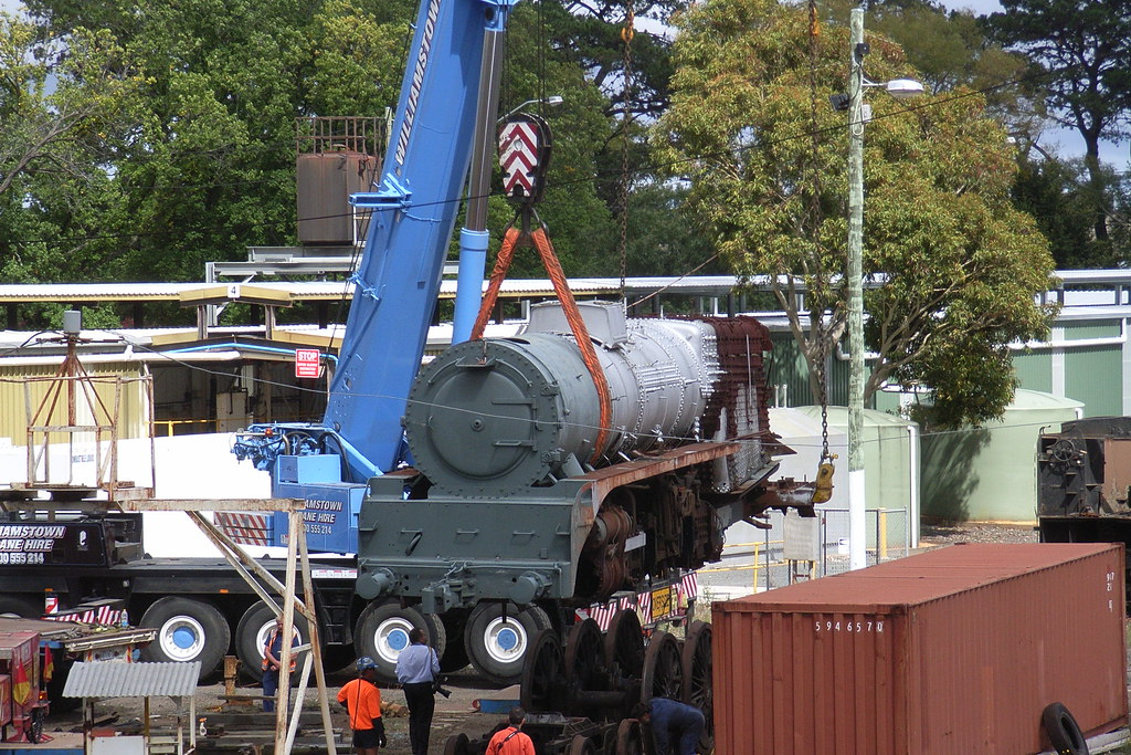 R700 is lifted up and onto the wheel set that belonged to R766 at Ballarat East depo by bukk05