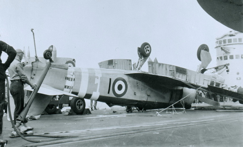 THE NAVY IN THE 1950S: a mystery crash for Sea Fury VX748 on HMAS SYDNEY [III], Aug. 10, 1951. - RAN.