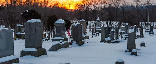 hunterdoncounty newjersey graveyard cemetery snow sunset musconetcong