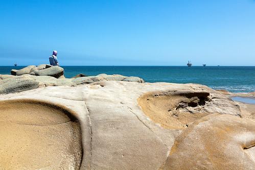 ocean life blue sky peru fishing fisherman rocks peace row