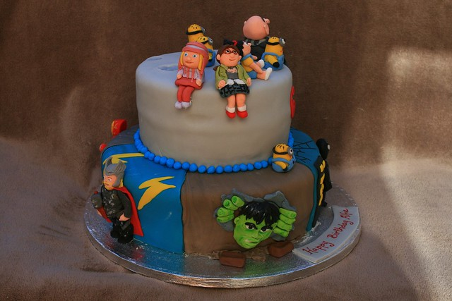 Despicable me and Avengers cake