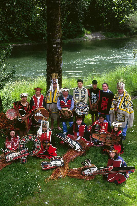 Hunt Dancers on the bank of the Cowichan River, Duncan, Cowichan Valley, Vancouver Island, British Columbia