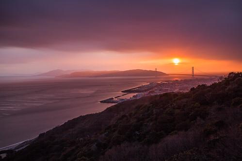 sunset japan ngc kobe rokko akashi 明石海峡大橋 淡路島