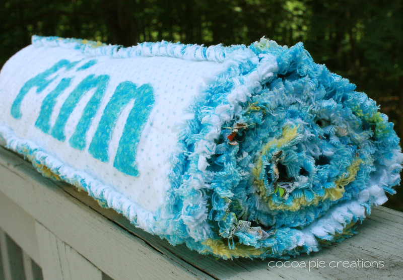 Personalized Boy Rag Quilt- Rolled