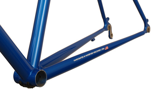 <p>Front view of Gunnar Sport in Blue Flame with White Builseye decals.  The most versatile road bike around, the Sport fits fenders and up to 28C tires (32C's and most 35C's will fit without fenders.  Great design for centuries, randonneuring and general riding.</p>