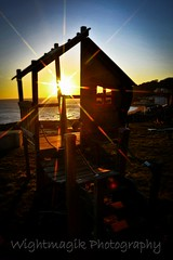 Wintery sunsets on the old rickety play house. iow.