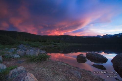 sunset summer color water rocks calm rockymountains brainardlake cloudsstormssunsetsandsunrisecolorado