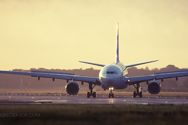 Commercial airliner on the runway.