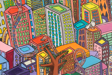 "East Village with Roller Coaster (16"" x 24"" acrylic on canvas)"