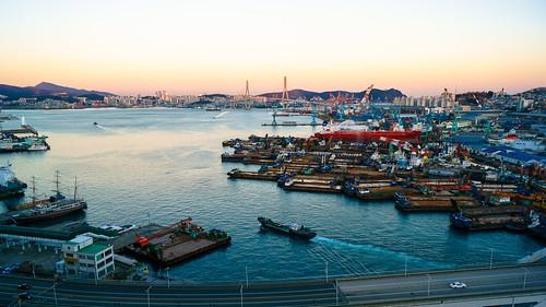 sunset sea port harbor boat harbour korea busan 대한민국 배 항구 해질녘 부산광역시 부산항 항만