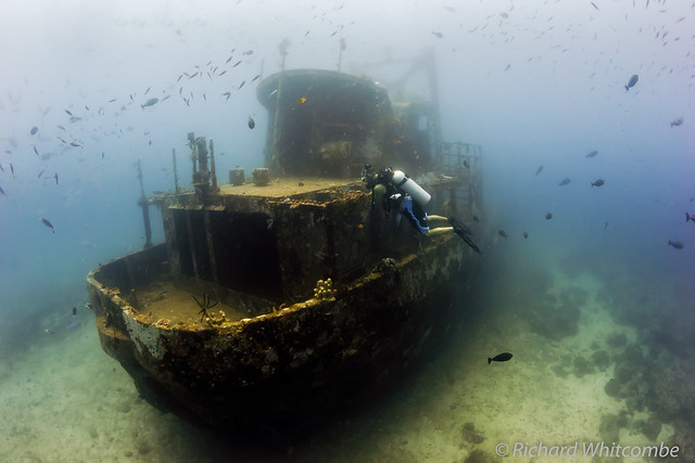 Camia II shipwreck sitting on the sand at 28m depth
