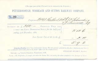 Peterborough, Wisbeach and Sutton Railway dividend warrant 1880 | by ian.dinmore