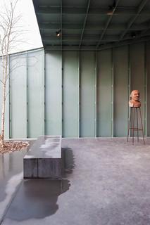 Belgium, Antwerp, Het huis exhibition pavilion designed by Robbrecht en Daem architects