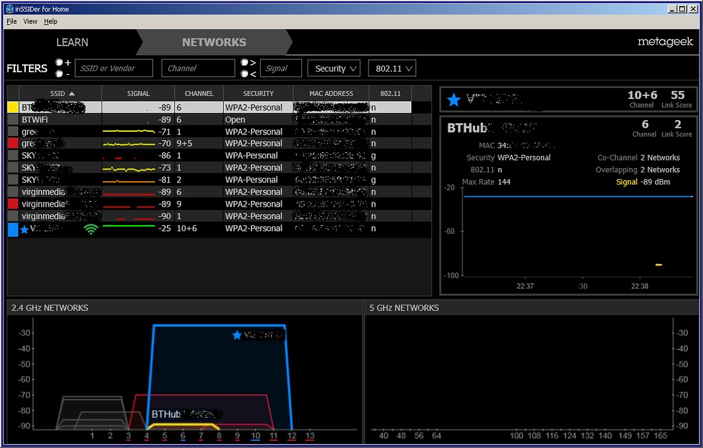 inssider 3 | inssider 3 now features 2 4GHz and 5GHz graphs