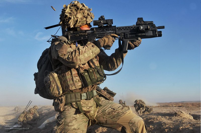 British Army Soldier in Afghanistan Engaging the Enemy