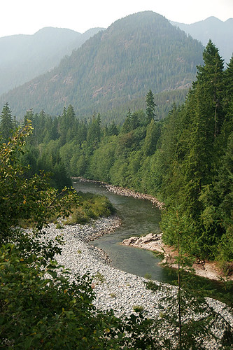 Nimpkish River and Mt. Ashwood, from Woss on North Vancouver Island, British Columbia, Canada