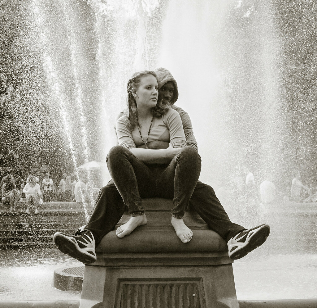 By the fountains